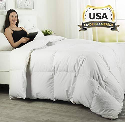 ComfyDown Luxurious White Comforter - Hypoallergenic, Washable, European Goose Down, 650 Fill Power w/Soft, Plush, Egyptian Cotton 300 Thread Count Cover - Made in The USA