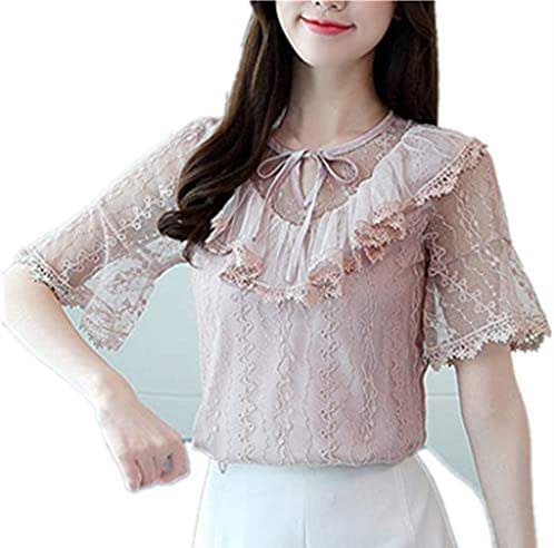 Ximandi Women's Elegant Lace Up O Neck Short Sleeve Slim Fit Top Blouse Casual Korean Style Tops