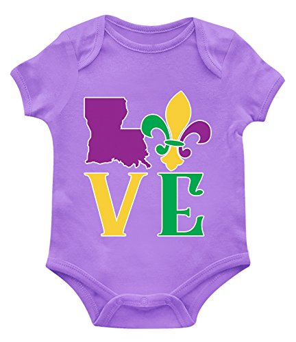 SpiritForged Apparel Love Louisiana Mardi Gras Infant Bodysuit, Light Purple 6 Months