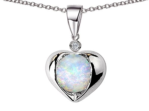Star K Round 7mm Created Opal Heart Pendant Necklace Sterling Silver