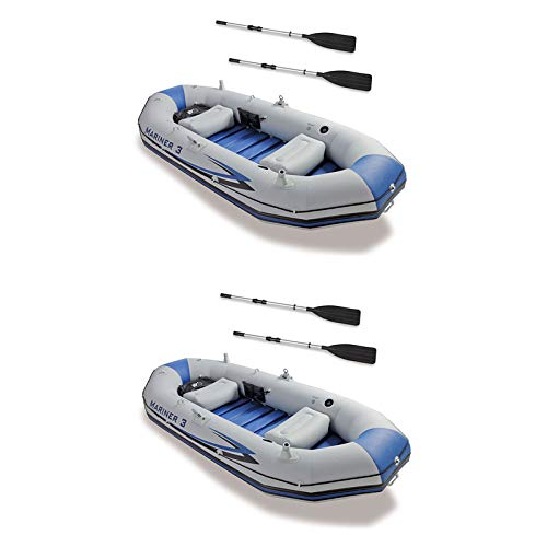 MRT SUPPLY 3-Person Inflatable River/Lake Dinghy Boat & Oars Set (2 Pack) with Ebook