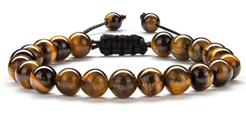 Hamoery Men Women 8mm Tiger Eye Stone Beads Bracelet Braided Rope Natural Stone Yoga Bracelet Bangle(Tiger Eye -