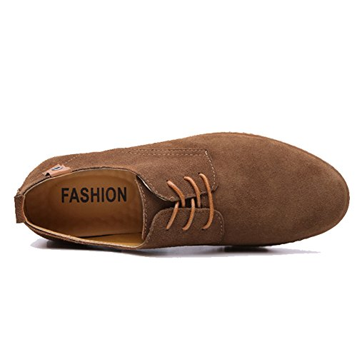 Cior Menn Oxford Klassisk Kjole Semsket Skinn Casual Sko Blonder-up Loafer Flats Joggesko 01khaki