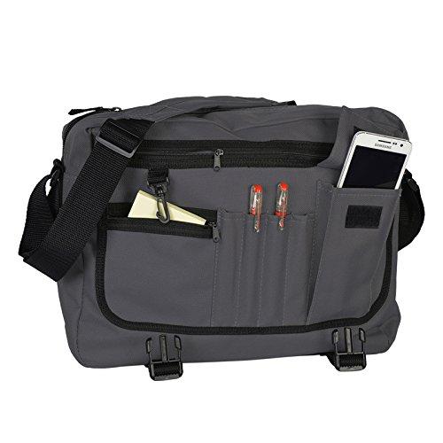 Umhängetasche Messenger Tasche Schultasche Freizeittasche mit Goodman Design Logo dunkelgrau