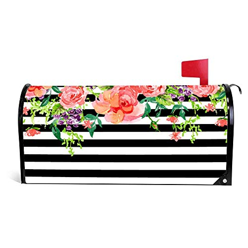 Yilooom Black and White Floral Roses Watercolor Art Stripe Mailbox Cover Magnetic Mail Box Wrap Yard Garden Decor 17.25 X 20.75 Inches