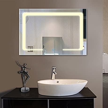 3628 In Horizontal Yellow Light LED Bathroom Silvered Mirror Touch Button D CL129