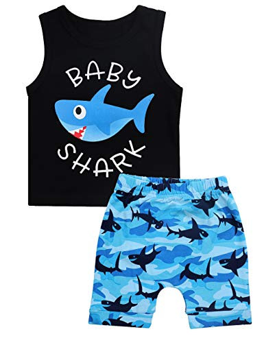 Baby Boy Clothes Baby Shark Doo Doo Doo Print Summer Cotton Sleeveless Outfits Set Tops + Short Pants 12-18 Months