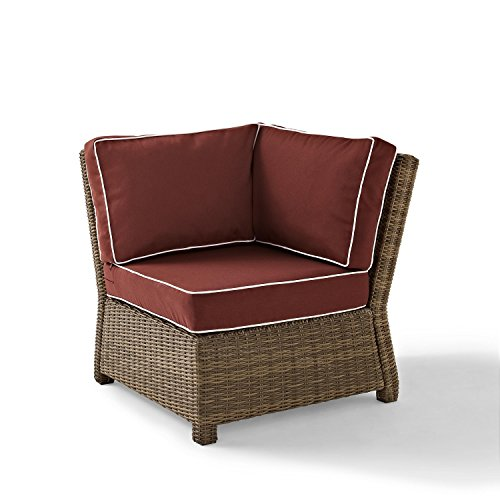 Crosley Furniture Bradenton Outdoor Wicker Sectional Corner Chair with Cushions - Sangria - Corner Sectional Chair Frame