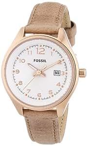 Fossil AM4501 - Reloj analógico de cuarzo para mujer, correa de cuero color beige