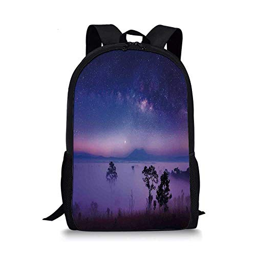 Space Stylish School Bag,Milk Way Starry Night in a National Park Thailand Mystical Forest Scenery Picture for Boys,11''L x 5''W x 17''H