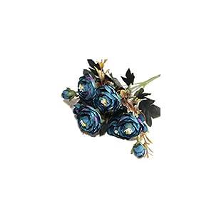 UESH-1 Bouquet 9 Head Artificial Silk Cloth Fake Flowers Leaf Peony Floral Home Wedding Party Decor Blue,Blue 80