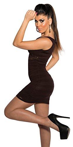 WeaModa - Vestido - corte imperio - Sin mangas - para mujer marrón