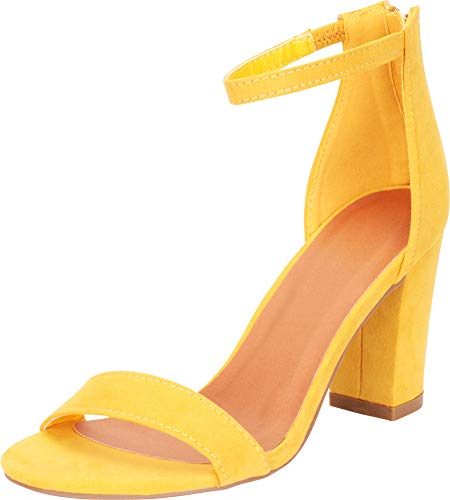 - Cambridge Select Women's Open Toe Single Band Stretch Ankle Strappy Chunky Stacked Block Heel Sandal,8.5 B(M) US,Mustard IMSU