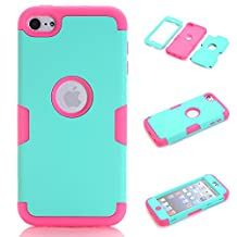 iPod Touch 5 Case,iPod Touch 6 Case, NOKEA Layered 3in 1 Hard PC Case Silicone Shockproof Heavy Duty High Impact Armor Hard Case for Apple iPod Touch 6 5th Generation (Mint Rose)