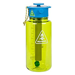 Lunatec Aquabot sport water bottle - a pressurized mister, camp shower and hydration in one. Portable running water for your pocket. BPA free. Green 1.0 liter
