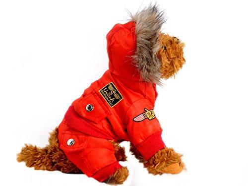 Sumchimamzuk Haustier USAF Muster Jacke mit Kapuze Huendchen Wintermantel Hundekleidung Hundemode Rot Groesse L