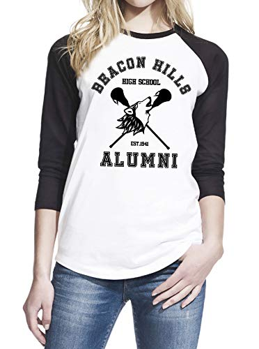 Beacon Hills High School Alumni Women Baseball T-Shirt X-Large White/Black -