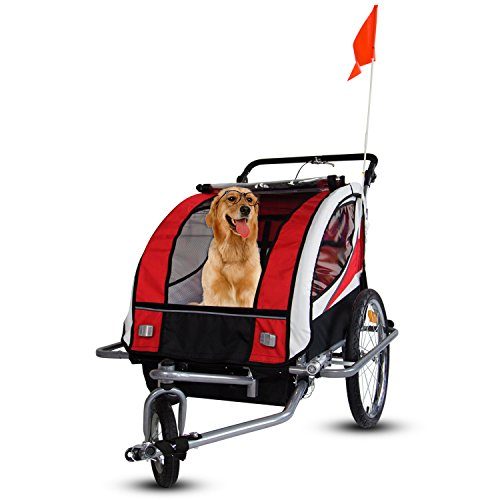 Peach tree New2 in 1 Bicycle Pet Trailer Stroller for Pet Dog Bike Carrier (Red) Review