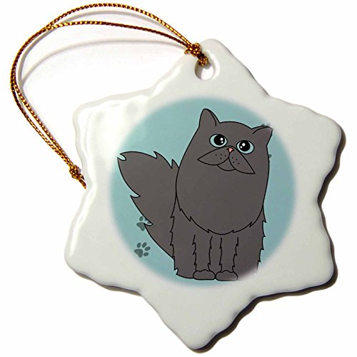 3dRose orn_6373_1 Grey Long-Haired Persian Cat Blue Eyes Paw-Print-Snowflake Ornament, Porcelain, 3-Inch