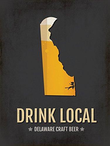 Delaware Beer Print Map - DE Drink Local Craft Beer Sign - Boyfriend Gift, Husband Gifts for Him, Beer Gift, Wilmington, Newark