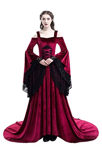 baycon Womens Renaissance Costumes Medieval Irish Dress Victorian Retro Gown Red XX-Large -