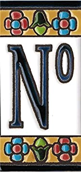 N/úmeros y letras para casas 3,5 x 7,5 cm Grabado y Ceramica Espa/ñola Letra X Pintados a mano con la t/écnica de la cuerda seca