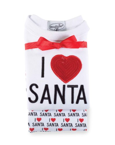 Mud Pie Unisex Baby I Love Santa Long Johns Set, Multi Colored, 2T 3T