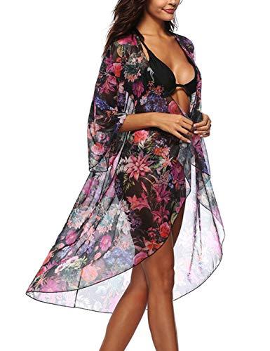 Womens Casual Boho Printed Flowy Kimono Swim Cover Up Long Coverup ()