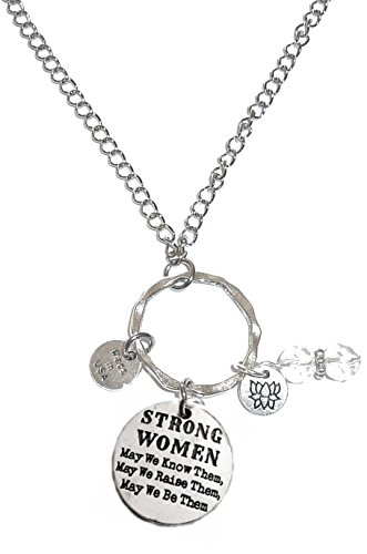 Hidden Hollow Beads Rear view Mirror Car Charm Ornament, Sun Catcher, Hanging Pendent, Stainless Steel Chain (Strong Women, May we know, Raise and be them)