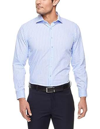Van Heusen Euro Tailored Fit Business Shirt, Blue Textured S, 37cm Collar x 82cm Sleeve