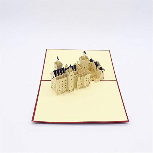 Handmade 3D Greeting Card, Paper Engraving Swan Castle Tourist Memorial, Suitable for Anniversary, Wedding, Valentine