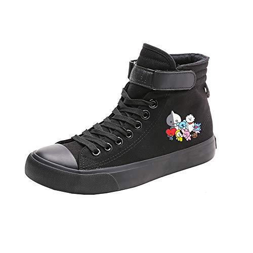Popular Cordones Alta Ayuda Printed Estudiantes Con Zapatos Canvas Bts Spring Black20 De TH88AZ