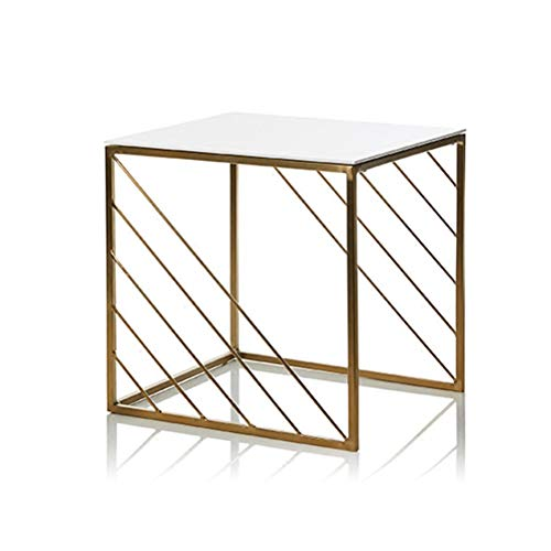 (End Tables Square Coffee Gold Table Modern Wrought Iron Side Rack Creative Corner Furniture 0702 (Size : 40X40X40.5CM))