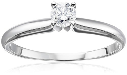 14k White Gold Round Solitaire Diamond Engagement Ring (1/4 cttw, H-I Color, I2-I3 Clarity), Size 6