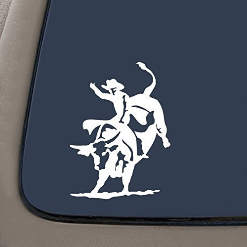 (NI468 Bull Rider Riding Rodeo Decal Sticker | 5.5-Inches | Premium Quality White Vinyl Decal)