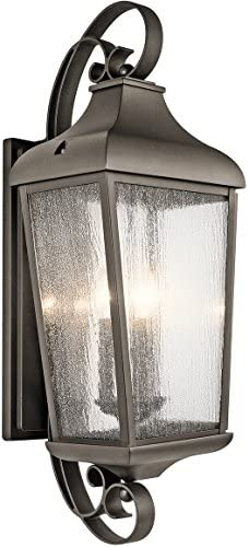 Kichler 49738OZ Forestdale Outdoor Wall Sconce, 3 Light Incandescent 180 Total Watts, Olde Bronze