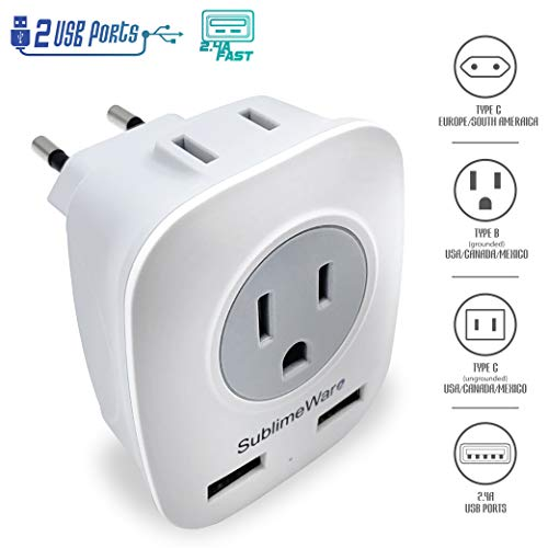 European Power Adapter w/ 2 USB Ports & 2 AC Outlets - USA to EU Outlet Plug - US to Europe Plug Adapter - Electrical Charger Travel Adapters for Europe from UK China - for Type F, E, C Charging (Adapter European Usb)