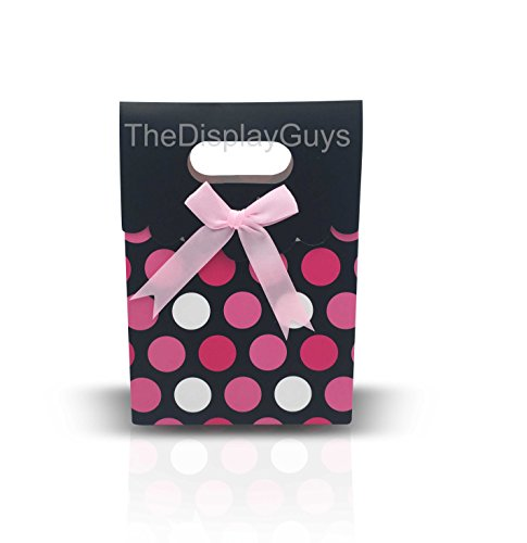 The Display Guys 12 pcs Dozen Paper Gift Bags Box Tote Bow Bowknot Attached for Holiday Wedding Graduation Party Favor Presents (6 1/4x4 3/4x2 1/2 inches, Pink Red White Dots)