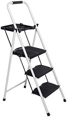 Escalera de 3 peldaños de escalera escalera de pie de escalera de acero escalera de seguridad: Amazon.es: Bricolaje y herramientas