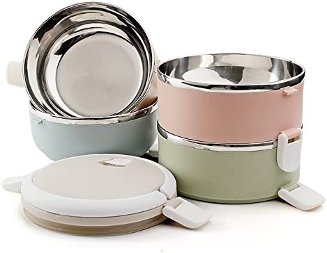 Foxtage - Juego de caja metálica para el almuerzo de 3 capas con cuchara y tenedor, aislante
