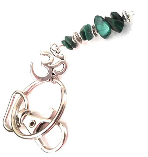 (Soul Star Designs Heart Chakra Malachite Chip Bead Key Chain w/Ohm Symbol )