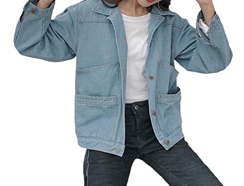 Collar Down Jacket Blue Denim Womens Light Loose Outwear RkBaoye Turn Sleeve Pocketed Long gO8nCwq