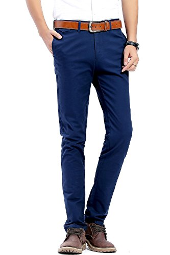 INFLATION Men's Stretchy Slim Fit Casual Pants,100% Cotton Flat Front Trousers Dress Pants For Men,Navy Pants Size 29