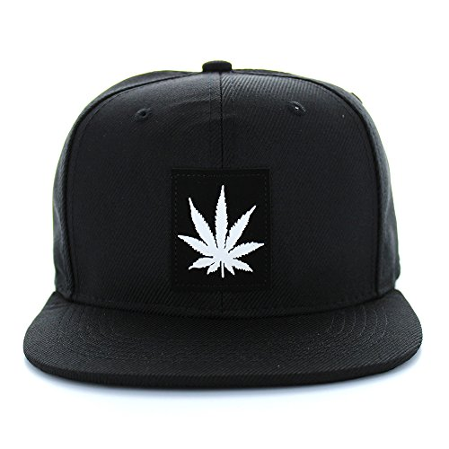 White-Marijuana-Logo-Cotton-Flat-Bill-Adjustable-Snapback-Cap-Black