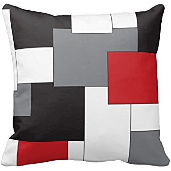 red black gray white block throw pillow cover decorative cushion case home pillowcase 16 x 16 inches