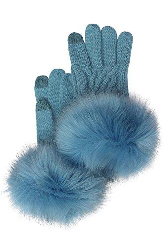 ScarvesMe CC Soft Knitted Solid Color Gloves with Fur Trim (Denim)