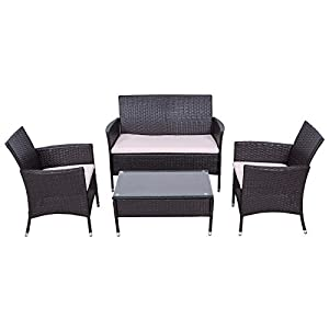 palm springs outdoor garden furniture 4 piece rattan sofa set w chairs tables cushions