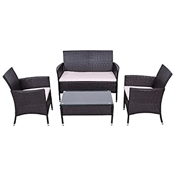Palm Springs Outdoor Garden Furniture 4 Piece Rattan Sofa Set W/ Chairs,  Tables U0026