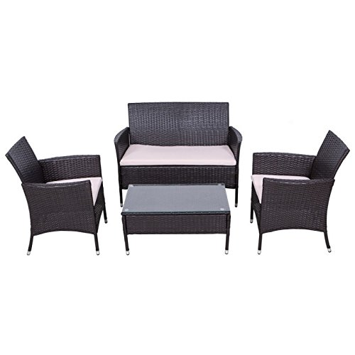 Palm Springs Outdoor Garden Furniture 4 Piece Rattan Sofa Set w/ Chairs, Tables & Cushions (Rattan Garden Furniture Cushion Covers)