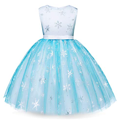 Cotrio Elsa Dress Up Birthday Theme Party Princess Dresses Halloween Cosplay Costume for Toddler Girls (130, 7-8Years)